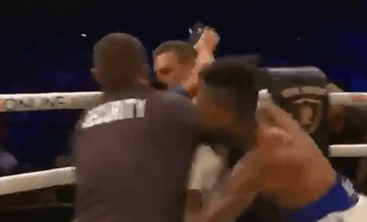 Blueface attacks fan who jumped in the ring to fight him