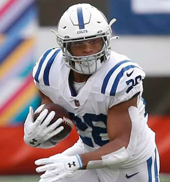 NFL DFS Optimal Lineup PIcks DraftKings FanDuel daily fantasy football optimizer Jonathan Taylor free expert ownership leverage rankings projections