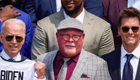 All the jokes were out on social media after an insanely sunburnt Bruce Arians was seen with the Bucs for their White House visit today
