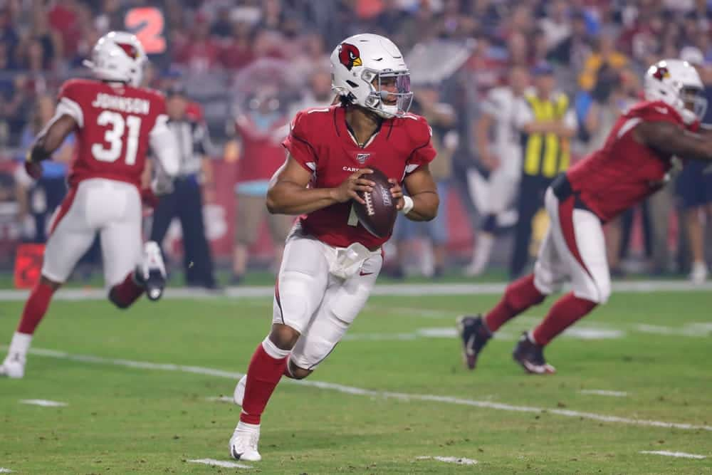 FanDuel cheatsheet featuring some of Alex 'Awesemo' Baker's top NFL DFS picks for Week 2 of the season, including Kyler Murray + more