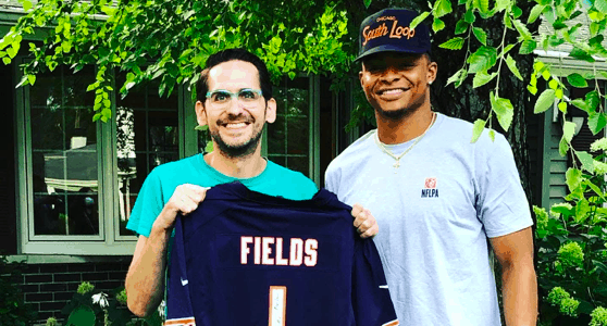 Chicago Bears rookie quarterback Justin Fields meets Scott Morrow, the Chicago gunshot victim who didn't want to die before watching him play