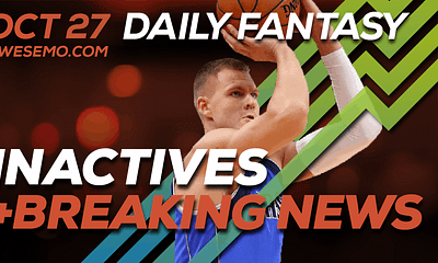 FREE Awesemo YouTube NBA DFS late-breaking news and inactives for daily fantasy lineups on DraftKings + FanDuel for Oct. 27.