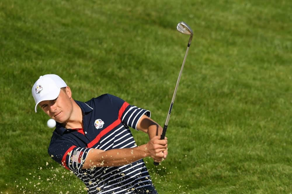 Jordan Spieth dug way deep in his bag of tricks when pulling off an absolutely ridiculous shot at the Ryder Cup on Thursday morning