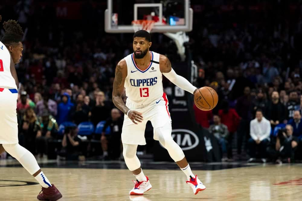 Awesemo brings the 4/20/21 NBA Yahoo Picks cheat sheet for daily fantasy basketball lineups on April 20, including Paul George.