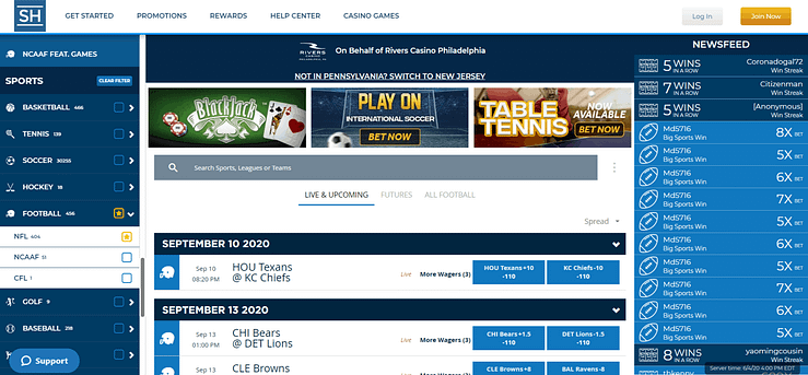 SugarHouse Sportsbook SugarHouse Sportsbook is a newcomer to the online betting landscape. Here's a sports betting review, and look at how to bet sports online.