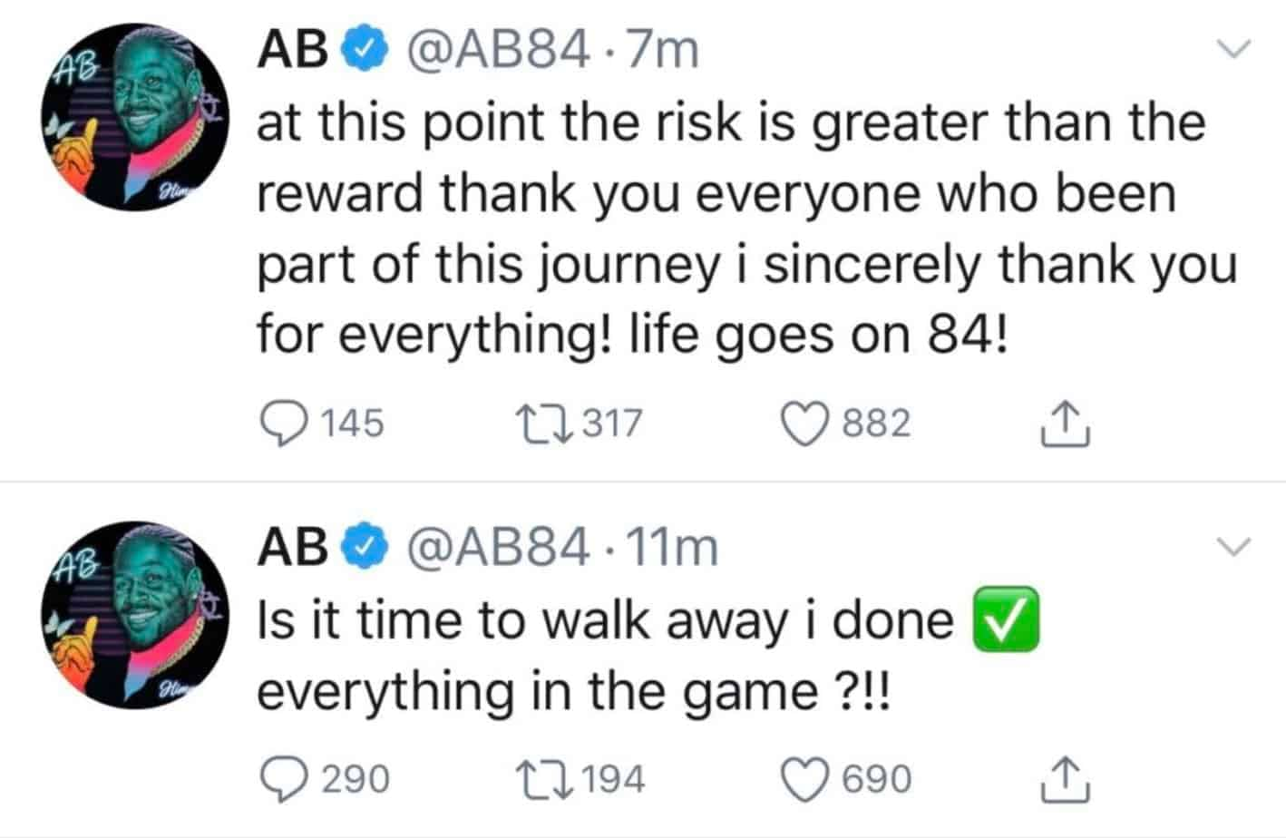 Antonio Brown retired from the NFL, announcing his plans via Twitter, which marks the second time he retired from the NFL on Twitter.