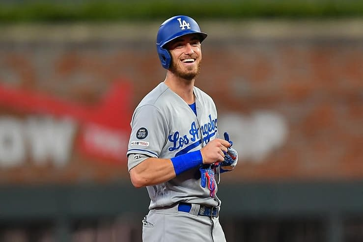 Cody Bellinger's model girlfriend, Chase Carter, was there to congratulate him after his series-winning hit against the Giants on Thursday night