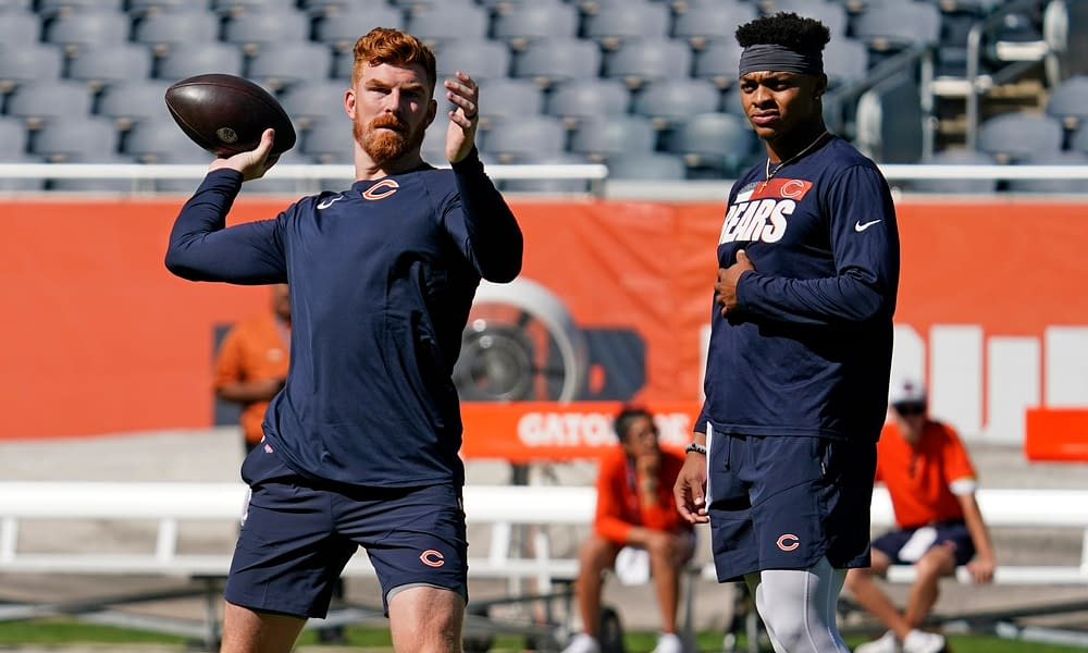 Chicago Bears quarterback Andy Dalton reacted to the news that the team was planning on moving forward with Justin Fields as the QB1