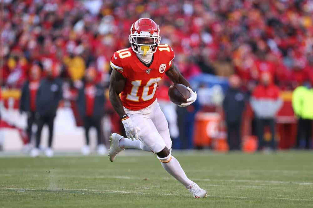 NFL DFS picks DraftKings and FanDuel NFL Daily fantasy football lineups AFC NFC Championship Games Tyreek Hill Aaron Rodgers Top-5 rankings