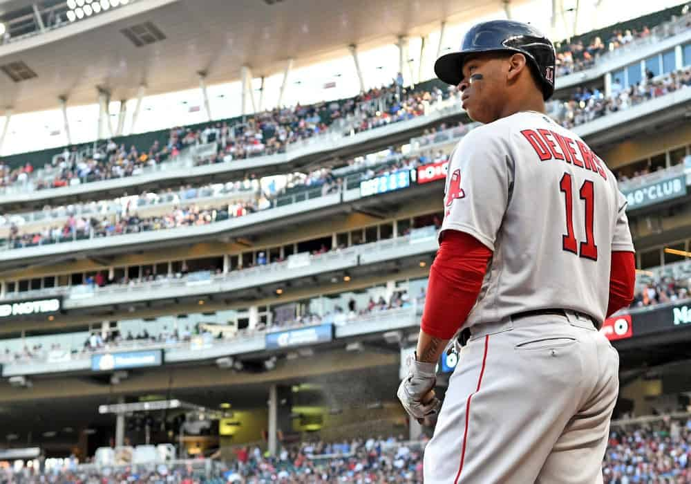 MLB DraftKings DFS picks daily fantasy baseball cheat sheet Monday May 10 with Rafael Devers based on projections and ownership
