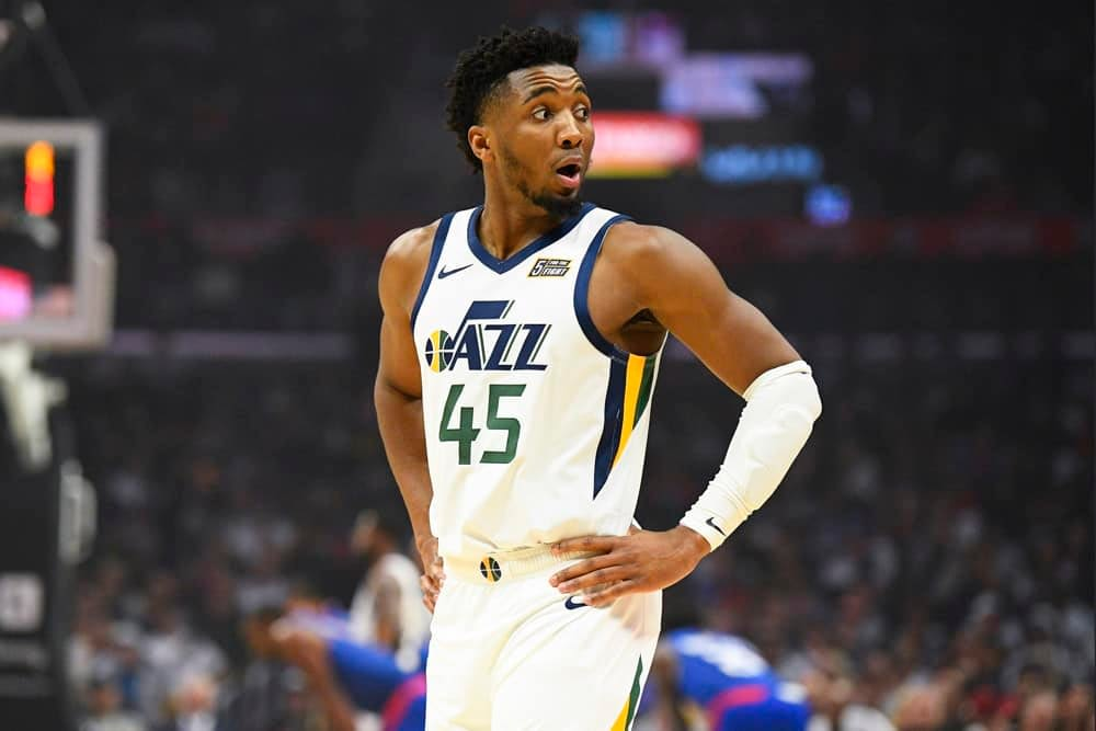 NBA Fantasy Projections for DraftKings and FanDuel based on Awesemo's expert boom/bust tool with Donovan Mitchell on April 13