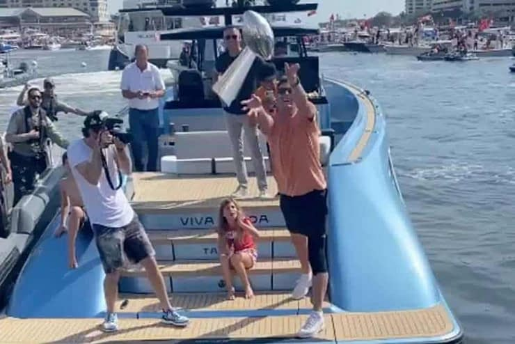Tampa Bay Buccaneers quarterback Tom Brady has the perfect response when he's told the Stanley Cup might be too big for him to toss