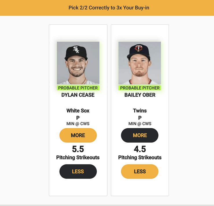 Monkey Knife Fight MLB fantasy picks expert projections MLB player prop bets vegas odds betting lines white sox twins strikeouts