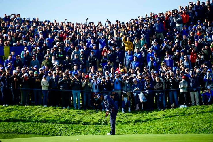 Fans at Wisconsin's Whistling Straits were up at the crack of dawn, sending an incredible early morning scene at the first tee of the Ryder Cup