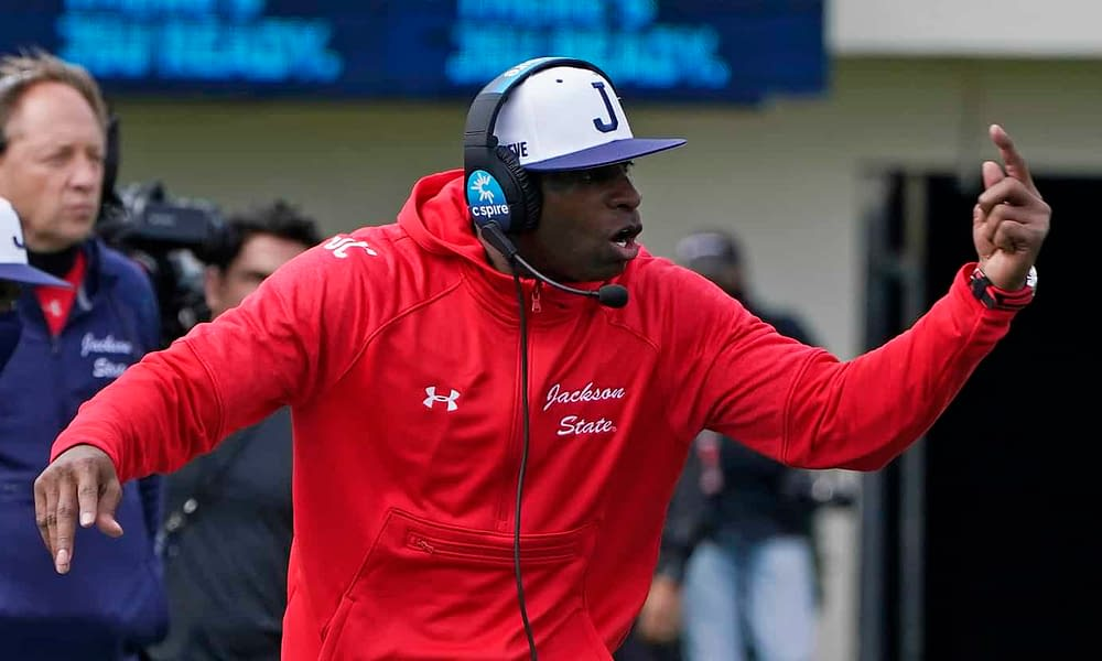 Jackson State head coach Deion Sanders reacts to Reggie Bush's comments about wanting him to be the next head coach at USC