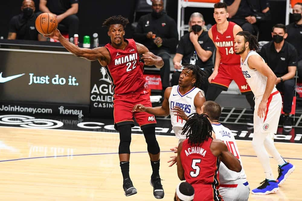 DraftKings & FanDuel NBA Fantasy Projections using the Boom/Bust tool and DFS picks for daily lineups on Monday March 29 based on Awesemo's expert tools, data and ownership featuring Jimmy Butler
