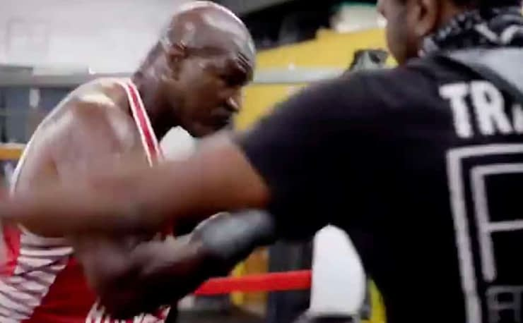 Is the 50+ year old fight on? Evander Holyfield Follows Up Mike Tyson's Impressive Old Guy Training Video With One Of His Own