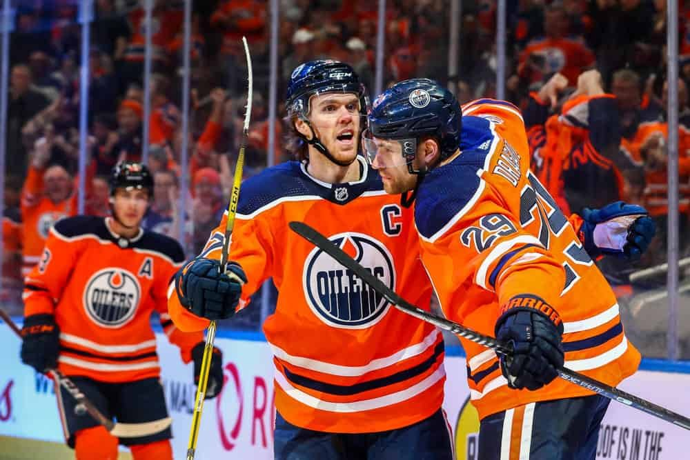 DraftKings NHL DFS picks lineups cheat sheet March 1 featuring Leon Draisaitl.