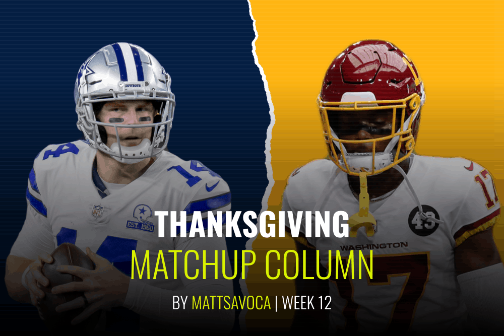 Matt Savoca's game-by-game breakdowns of the Week 12 Thanksgiving daily fantasy football slate for NFL DFS lineups on DraftKings + FanDuel.