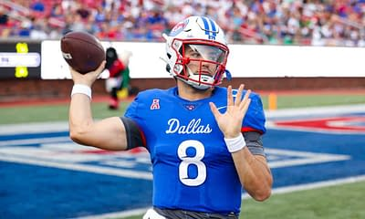 CFB DFS Picks DraftKings FanDuel College Football NCAAF daily fantasy optimal lineup optimizer free expert projections rankings ownership today tonight this week Week 8 SMU Tanner MordecaiQB stacks