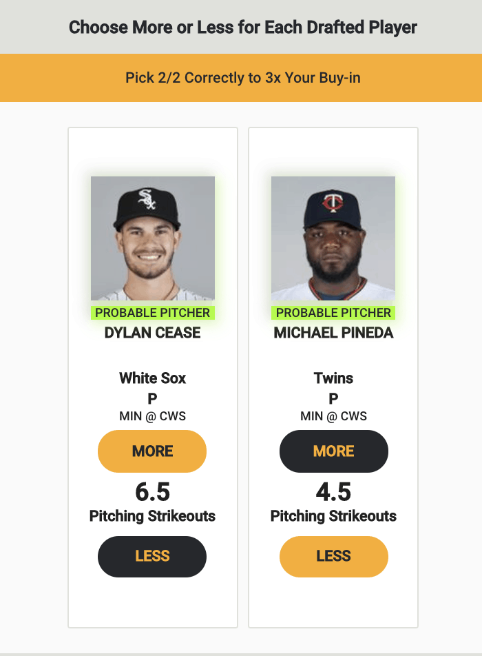 Free expert MLB player prop betting picks fantasy baseball Monkey Knife Fight White Sox Twins odds vegas best bets today strikeouts