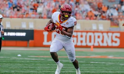 CFB DFS COllege Football FanDUel Picks today tonight Week 8 daily fantasy football lineup optimizer optimal projections rankings ownership Brrece Hall Iowa State free expert
