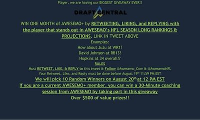 With the launch of Awesemo's NFL season long fantasy football rankings, we're having our biggest giveaway ever. Click to find out more.