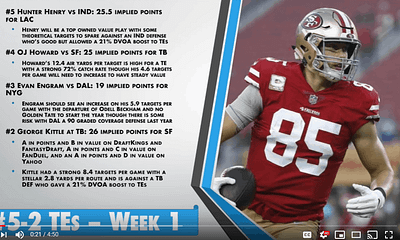 Awesemo's top Week 1 TE DST picks for NFL DFS Lineups on DraftKings, FanDuel, with George Kittle, Travis Kelce, Seattle Seahawks + NY Jets