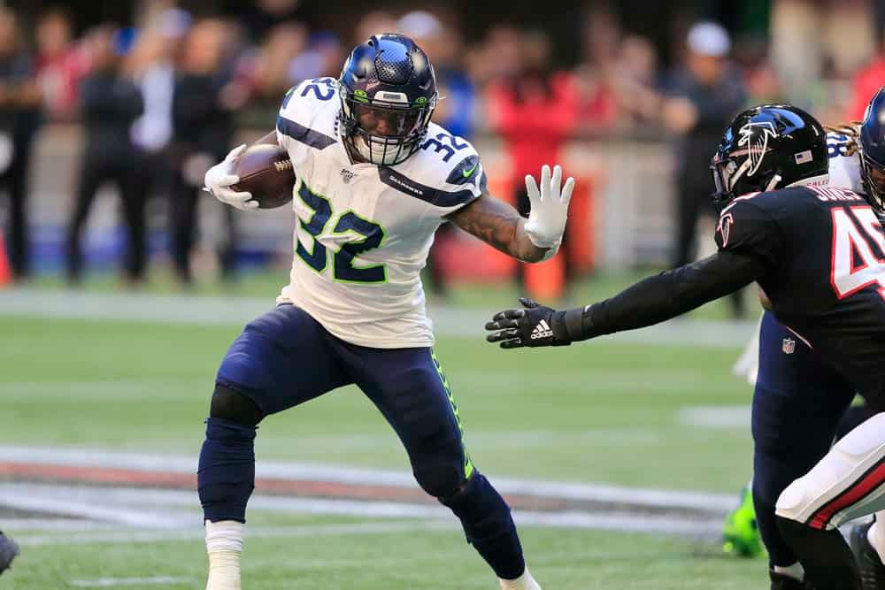 NFL Daily fantasy picks Week 2 DraftKings FanDuel Chris Carson boom bust ownership rankings projections free expert Awesemo pro plays