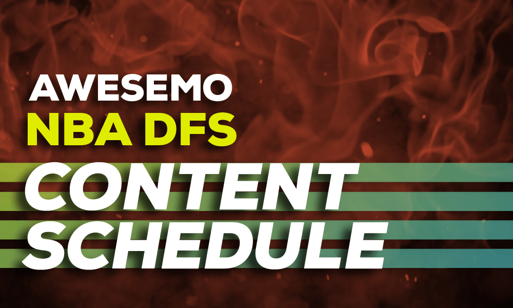 Our NBA DFS content schedule outlines all our daily fantasy content including data. articles, podcasts & videos. The tools you need to succeed at NBA DFS.