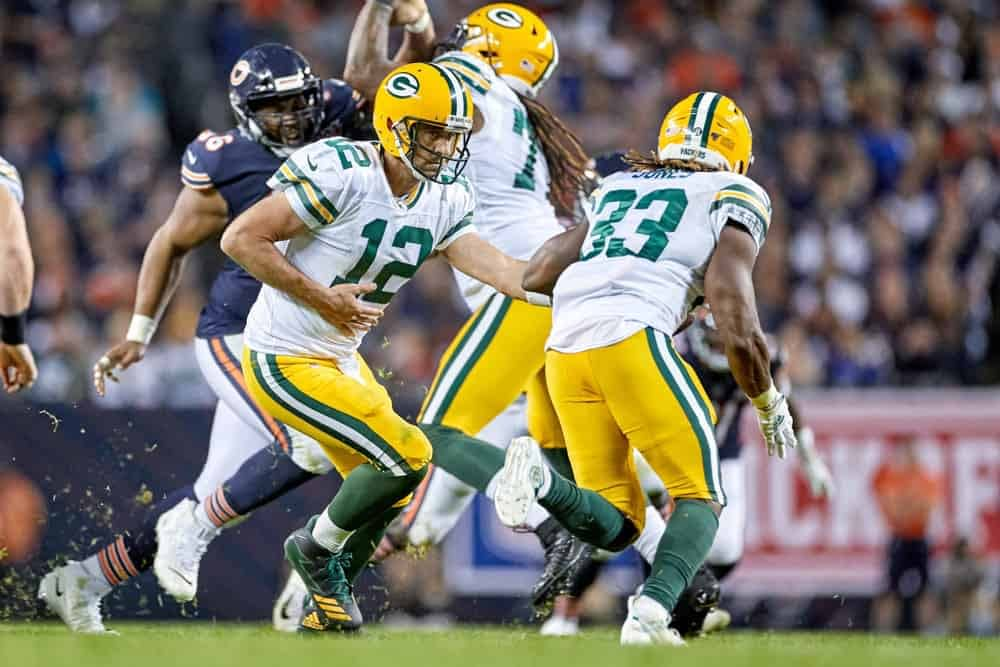 Sam Smith brings his preferred NFL DFS picks based on o-line/d-line play. This week includes Aaron Jones and the Packers against the Vikings.