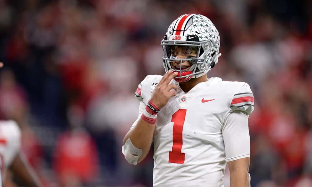 CFB DFS Picks for DraftKings and College Football betting picks for the National Championship Game Ohio State vs Alabama Justin Fields