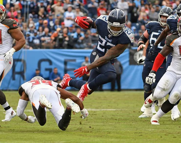NFL DFS Picks DraftKings Cheat Sheet for daily fantasy football lineups for Wild Card SUnday Playoffs based on expert projections and ownership featuring Derrick Henry and Michael Thomas