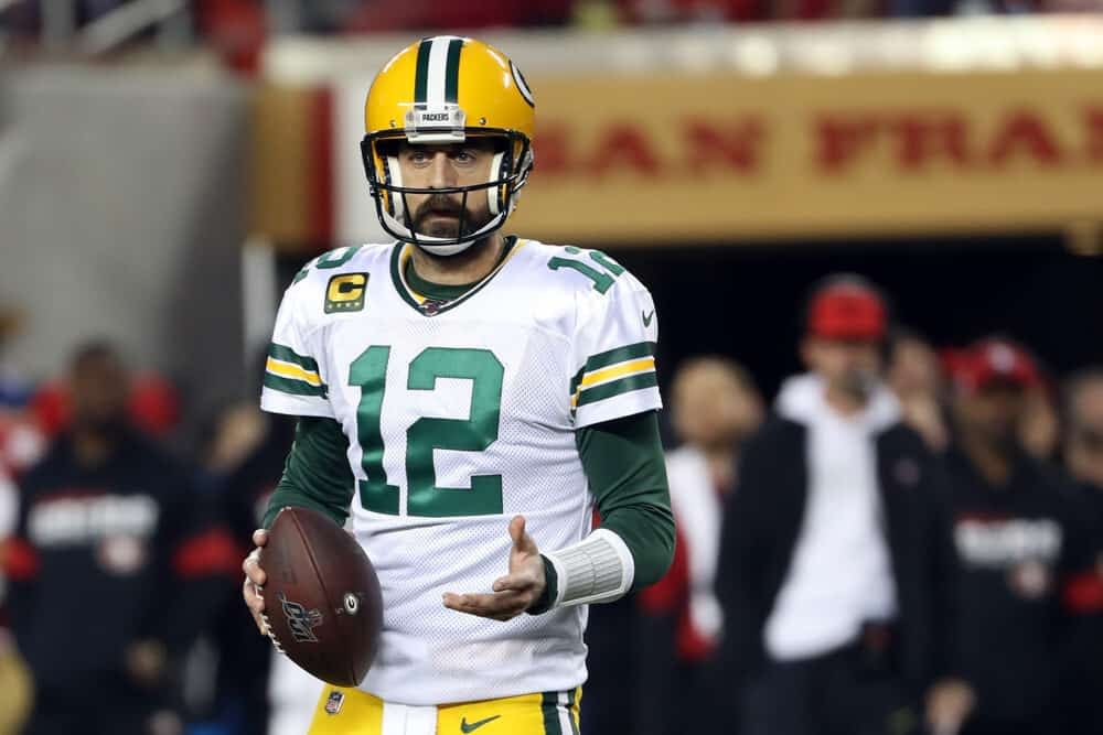 NFL DFS Picks for DraftKings and daily fantasy football lineups AFC NFC Conference CHampionship Round Playoffs Aaron Rodgers Green Bay packers Kansas City Chiefs Patrick Mahomes