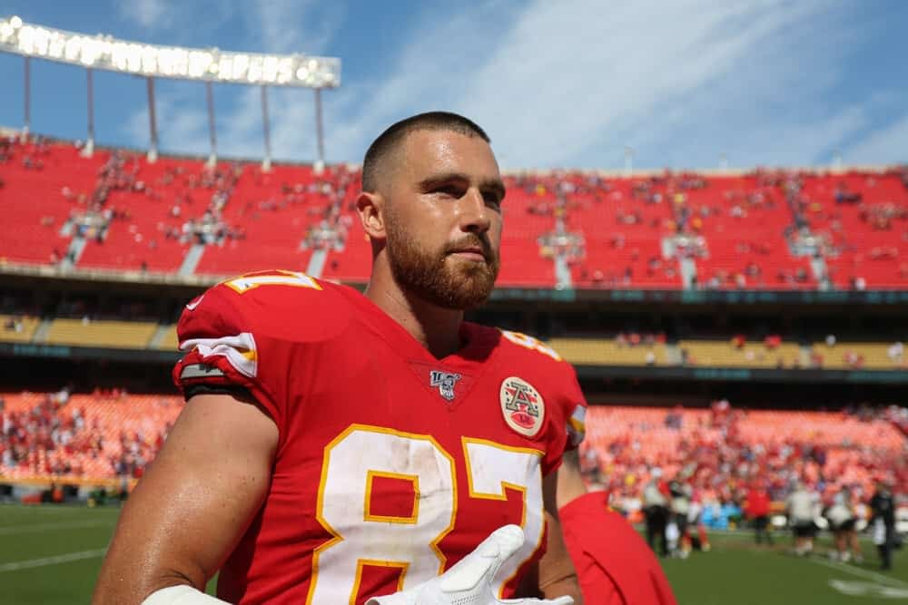 NFL DFS Picks for Yahoo Cheat Sheet daily fantasy lineups AFC NFC Conference Championship Games featuring Travis Kelce