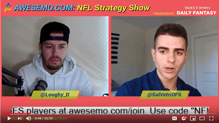 Dave Loughran and Sal Vetri sit down to discuss the NFL DFS lineup building and lineup construction on DraftKings & FanDuel.