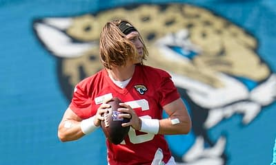 A FREE list of the Top NFL PrizePicks props and fantasy point totals for Thursday Night Football Week 4 NFL DFS picks, including Trevor Lawrence.