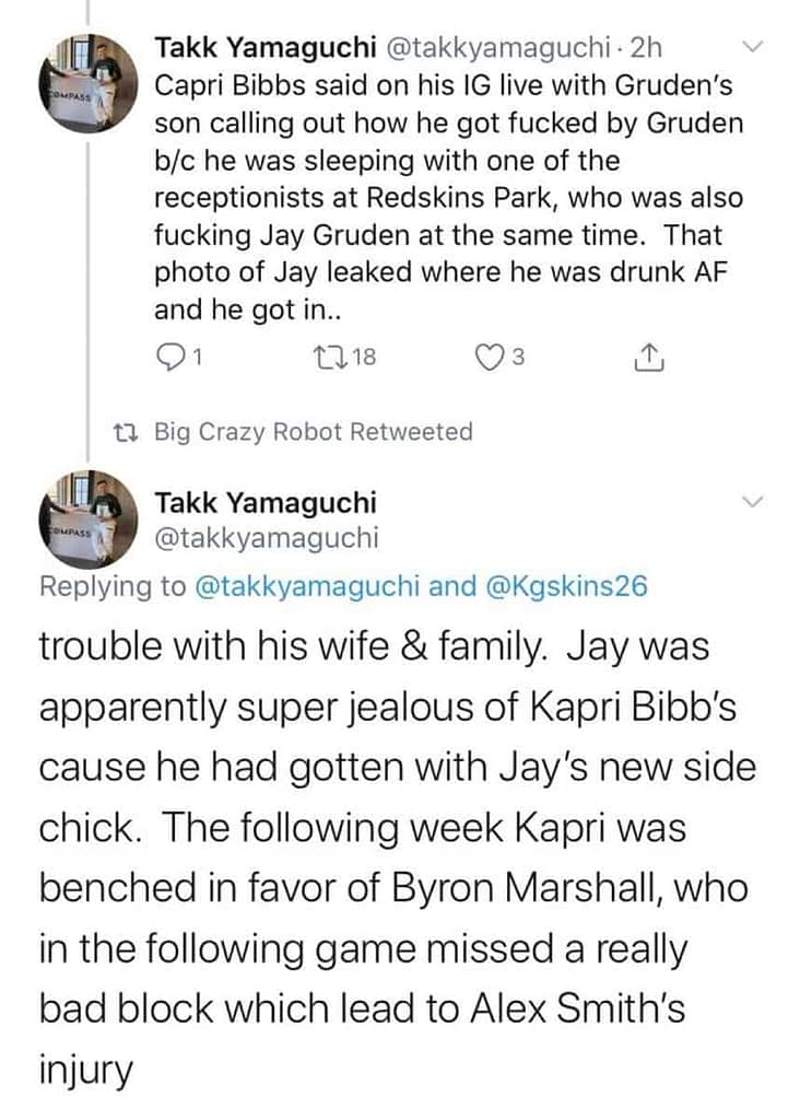 Ex-Washington RB Kapri Bibbs spilled all the details on Jay Gruden's side chick possibly being responsible for Alex Smith's nasty leg injury.