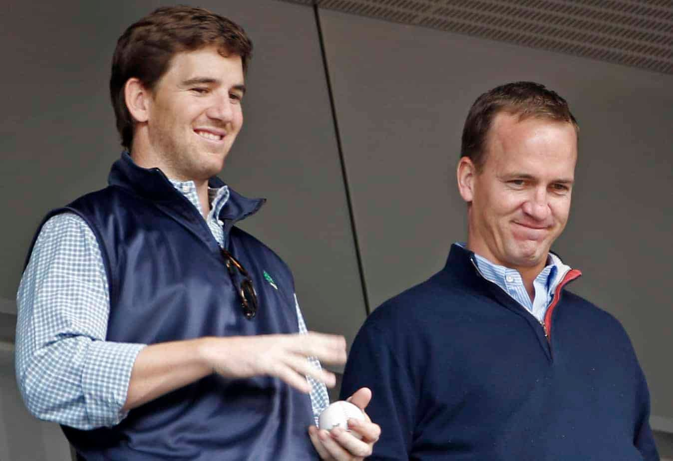 """Peyton Manning and his brother, Eli Manning, have been hired by ESPN to do an alternate broadcast of """"Monday Night Football"""" on ESPN 2"""