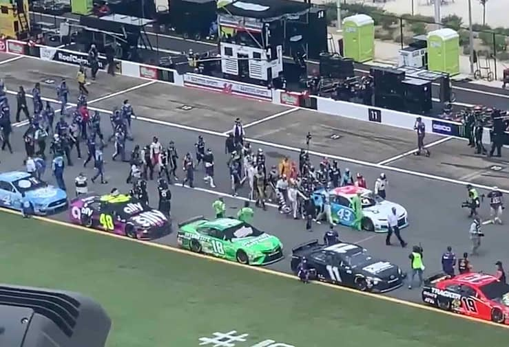 NASCAR drivers pushed Bubba Wallace's car to the front on Monday in response to a noose being found in the driver's garage.