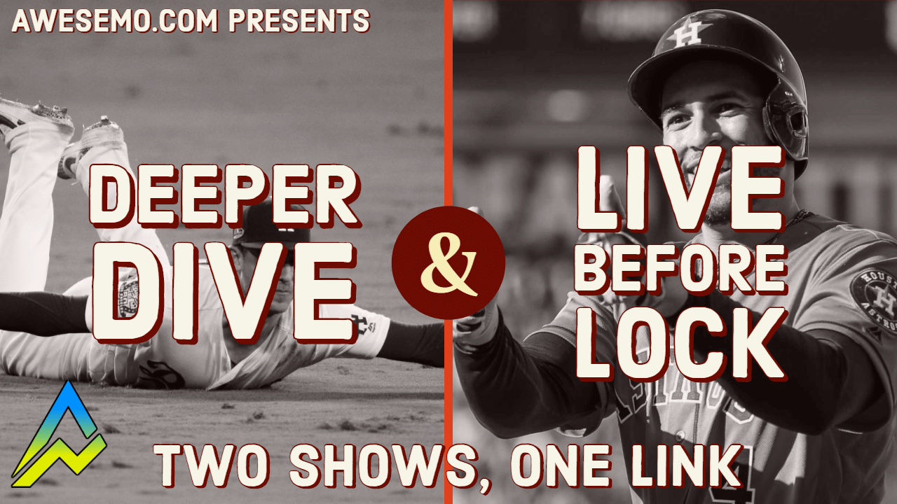 Our MLB Live Before Lock on the Awesemo YouTube channel preps you for the coming MLB DFS slate on DraftKings, FanDuel, Yahoo and FantasyDraft