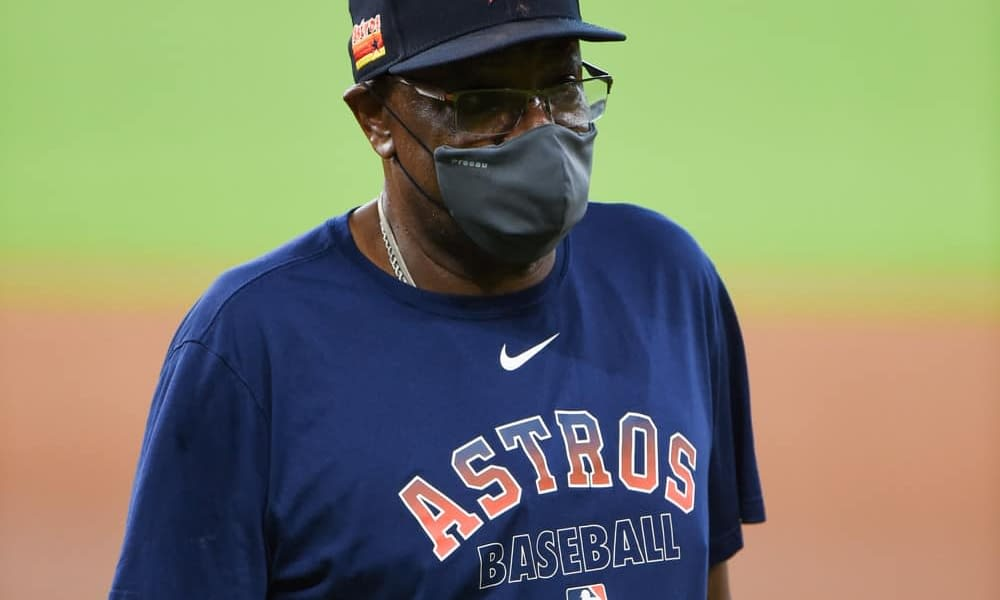 """Houston Astros manager Dusty Baker hilariously chugs out of a shoe for a """"shoey"""" to celebrate the team clinching the division on Thursday"""