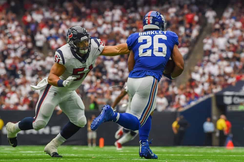 The optimal Week 3 NFL DFS value picks for DraftKings & FanDuel lineups using Awesemo's expert projections & rankings | Saquon Barkley