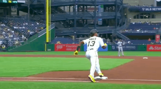 Pittsburgh Pirates third baseman Ke'Bryan Hayes was ruled out after he failed to touch first base while rounding the bases on a home run