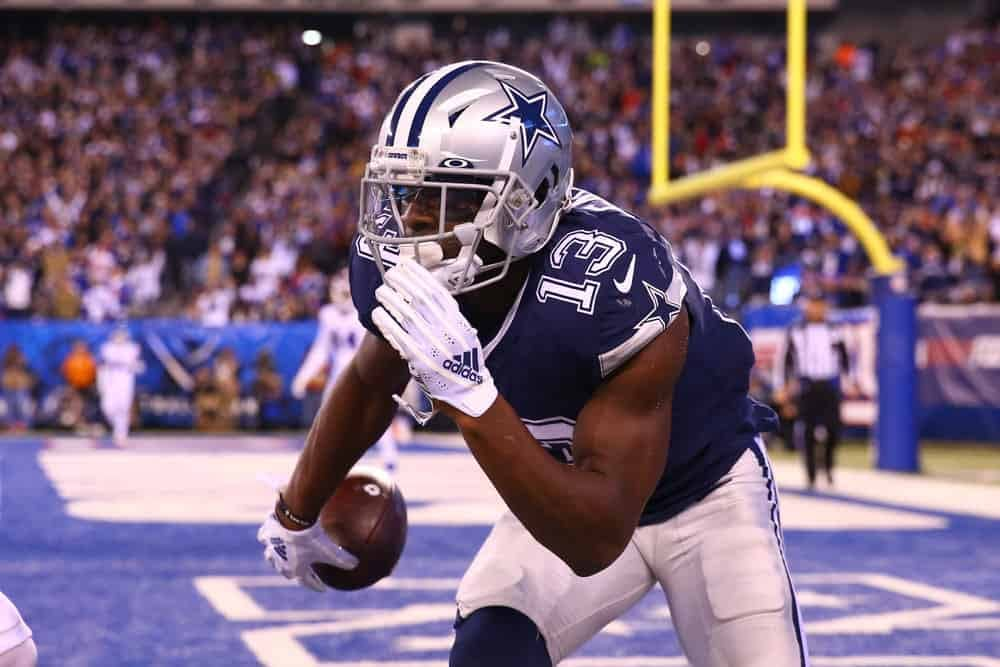 Yahoo cheatsheet featuring some of Alex 'Awesemo' Baker's top NFL DFS picks for Week 2 of the season, including Michael Gallup + more