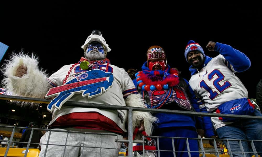 With an entire audience watching, a member of Bills Mafia completely nailed his table jumping gender reveal in a video that's now going viral