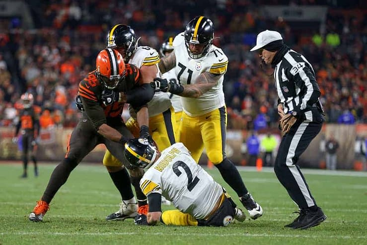 Pittsburgh Steelers quarterback Mason Rudolph is trending after fans saw a troll job done by Myles Garrett for a Halloween decoration