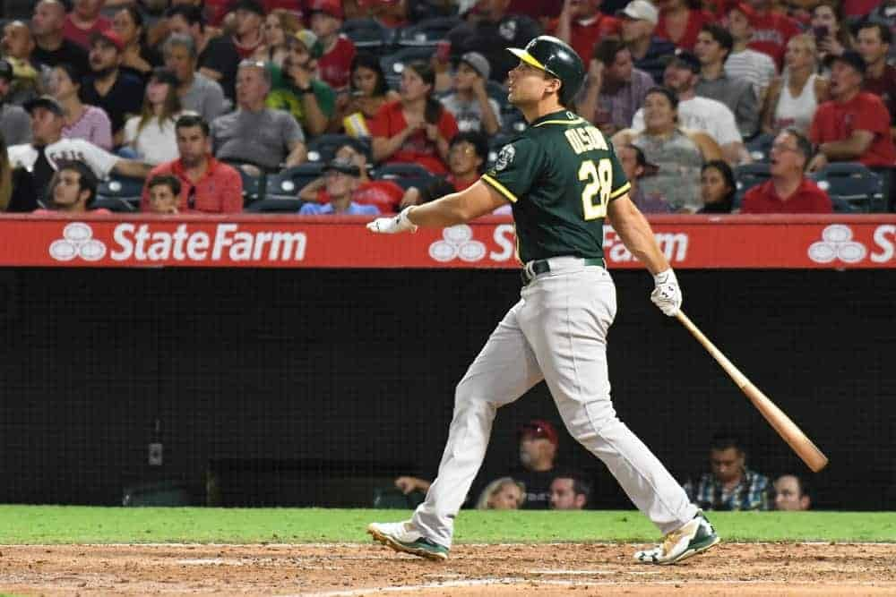 DraftKings MLB DFS cheatsheet for 9/14, picks like Matt Olson based on projections and ownership from the world's No. 1 DFS player