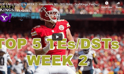 Chris Spags is back with some FREE NFL DFS Picks at TE and DST from Awesemo's NFL projections for DraftKings & FanDuel. Travis Kelce LOCK