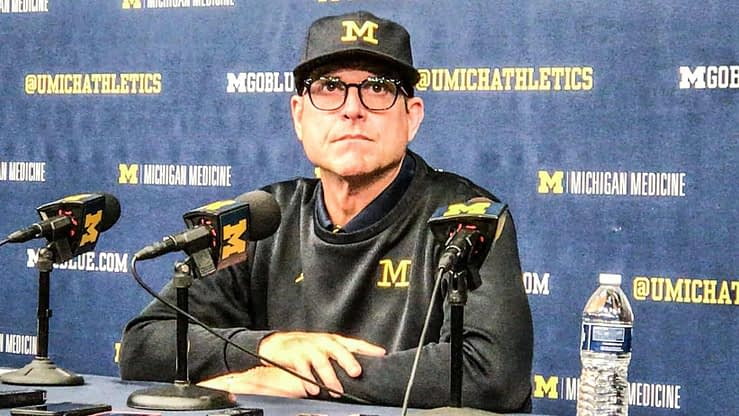 Jim Harbaugh interestingly uses a World War II analogy to describe his job security with the Michigan Wolverines heading into the season